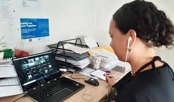Evonne Kennedy, Executive Director of the Business Coalition For Women, launches the Family and Sexual Violence Workplace Survey at Steamships Trading Company Limited over Zoom in November. The launch was attended by approximately 300 Steamships employees from across Papua New Guinea.