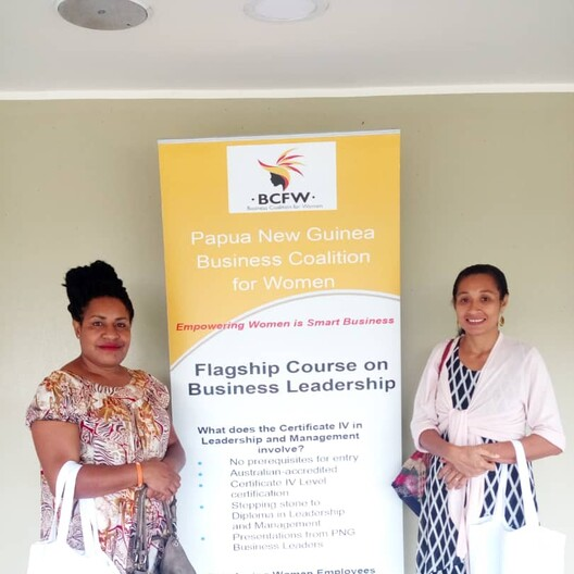 Miss Fiona Yandi (right) and Mrs Ravugerea Ginis (left) attending the BCFW Certificate IV Leadership & Management Course
